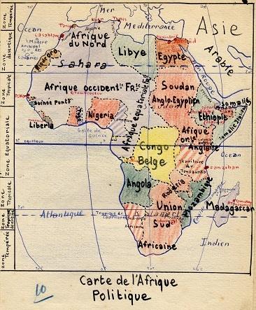 Carte de l'Afrique - Cahier d'éléve (collection musée de l'école de bothoa)