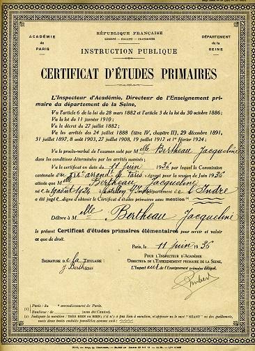 Certificat d'études primaires (collection musée de l'école de bothoa)