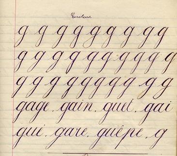 Page d'écriture 1897 (collection musée de l'école de bothoa)